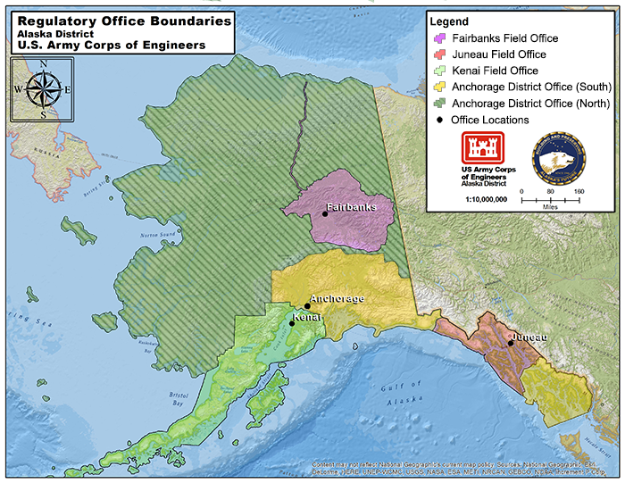 Map of Alaska and ACE District and Field Offices